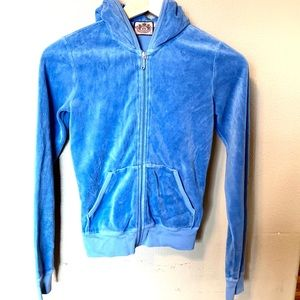 Juicy Couture blue velour zip up size small
